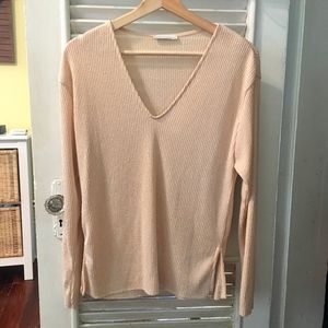 Zara Soft Knit Top Glitter Beige V Neck S